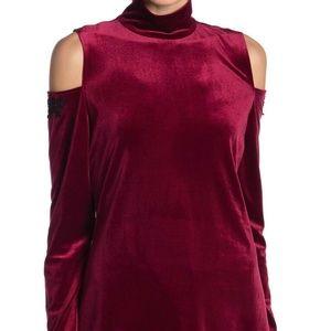 NWT Nanette Lepore Cold Shoulder Red Velvet Top